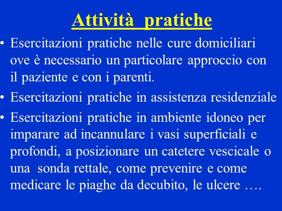 Attività pratiche Esercitazioni pratiche nelle cure domiciliari ove è necessario un particolare approccio con il paziente e con i parenti.
