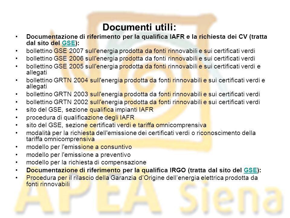 Documenti utili: Documentazione di riferimento per la qualifica IAFR e la richiesta dei CV (tratta dal sito del GSE):