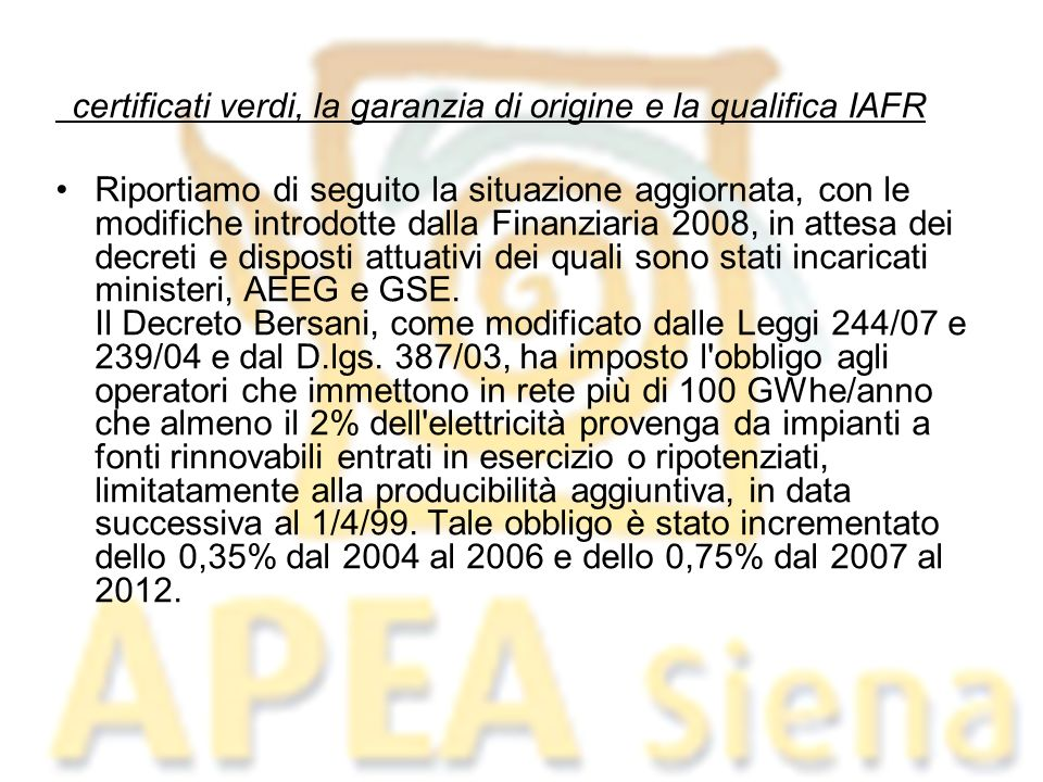 certificati verdi, la garanzia di origine e la qualifica IAFR