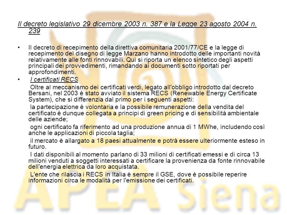 Il decreto legislativo 29 dicembre 2003 n