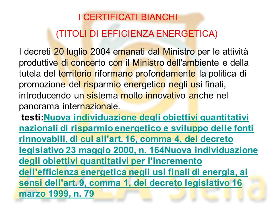 (TITOLI DI EFFICIENZA ENERGETICA)