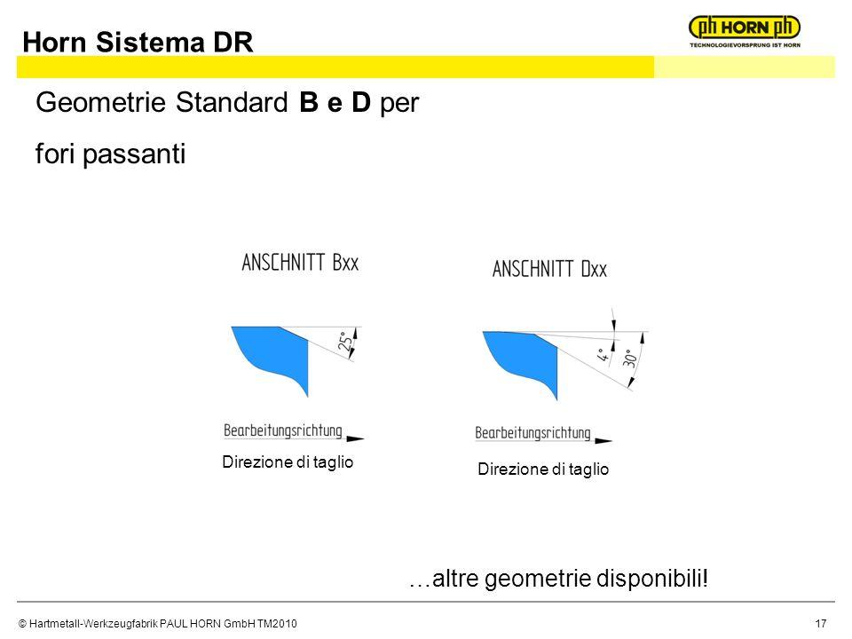 Geometrie Standard B e D per fori passanti