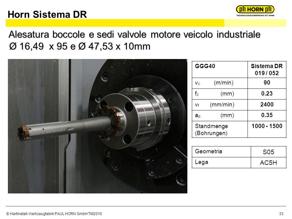 Horn Sistema DR Alesatura boccole e sedi valvole motore veicolo industriale Ø 16,49 x 95 e Ø 47,53 x 10mm.