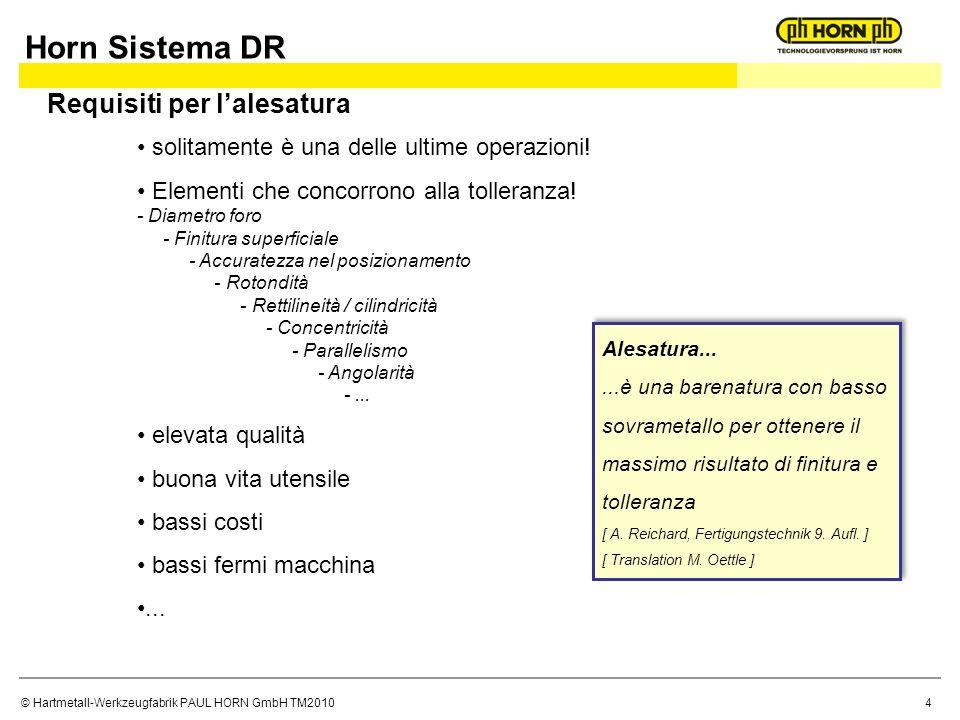 Horn Sistema DR Requisiti per l'alesatura