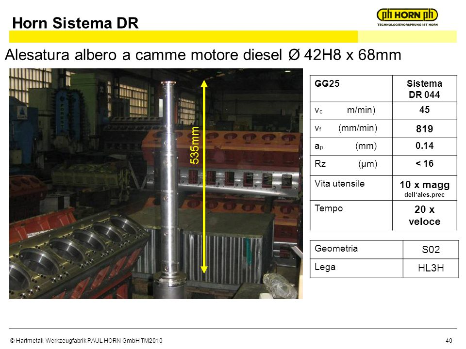Alesatura albero a camme motore diesel Ø 42H8 x 68mm