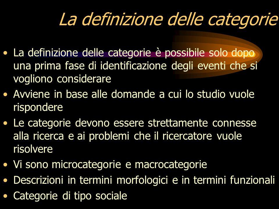 La definizione delle categorie
