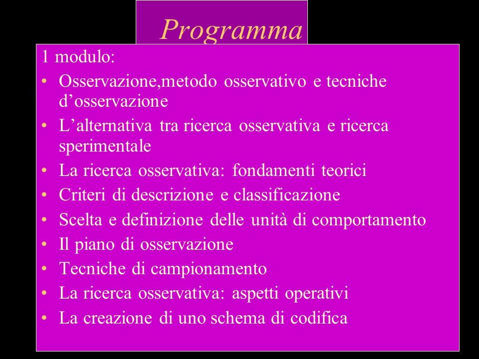 Programma 1 modulo: Osservazione,metodo osservativo e tecniche d'osservazione. L'alternativa tra ricerca osservativa e ricerca sperimentale.