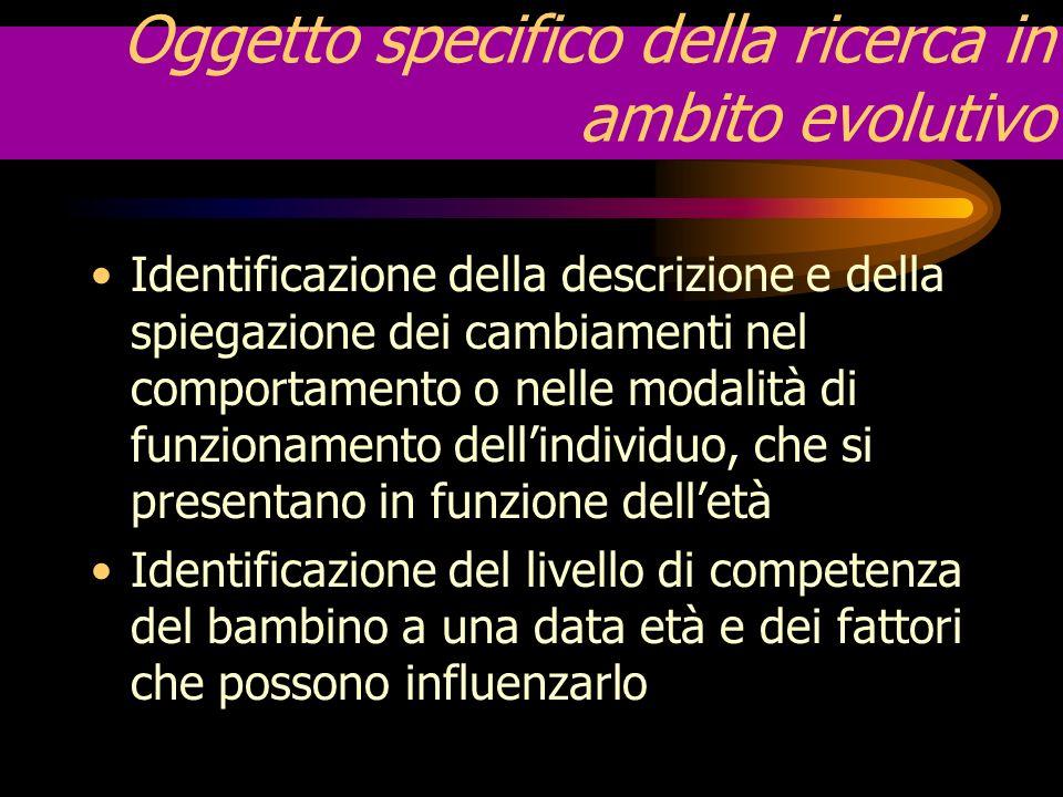 Oggetto specifico della ricerca in ambito evolutivo