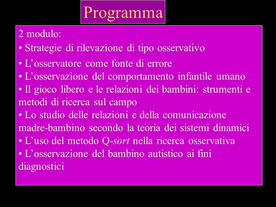 Programma 2 modulo: Strategie di rilevazione di tipo osservativo