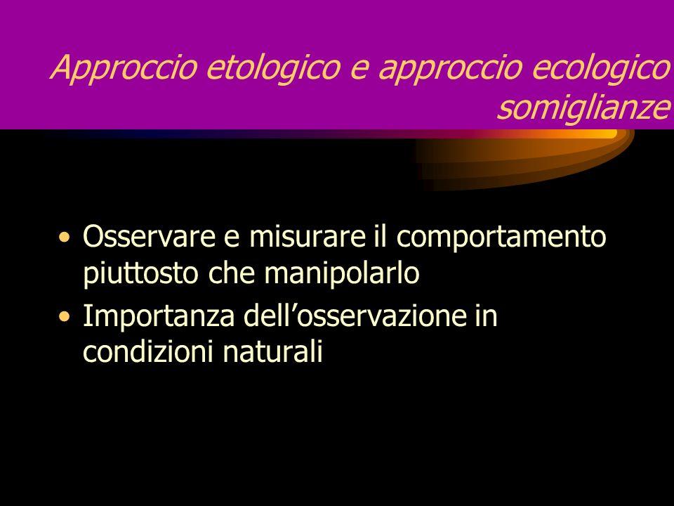 Approccio etologico e approccio ecologico somiglianze