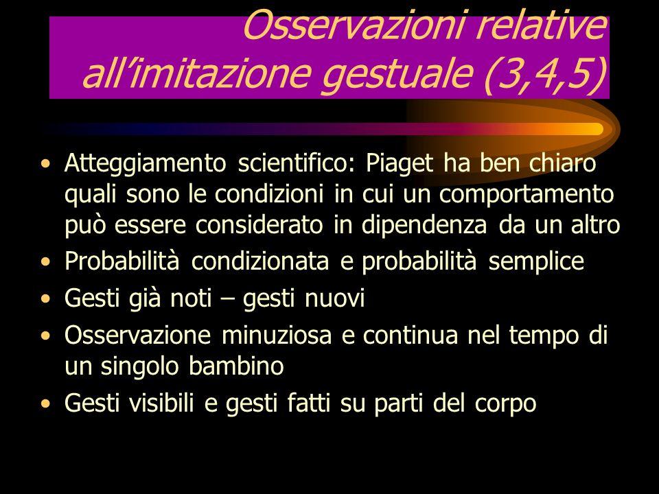 Osservazioni relative all'imitazione gestuale (3,4,5)
