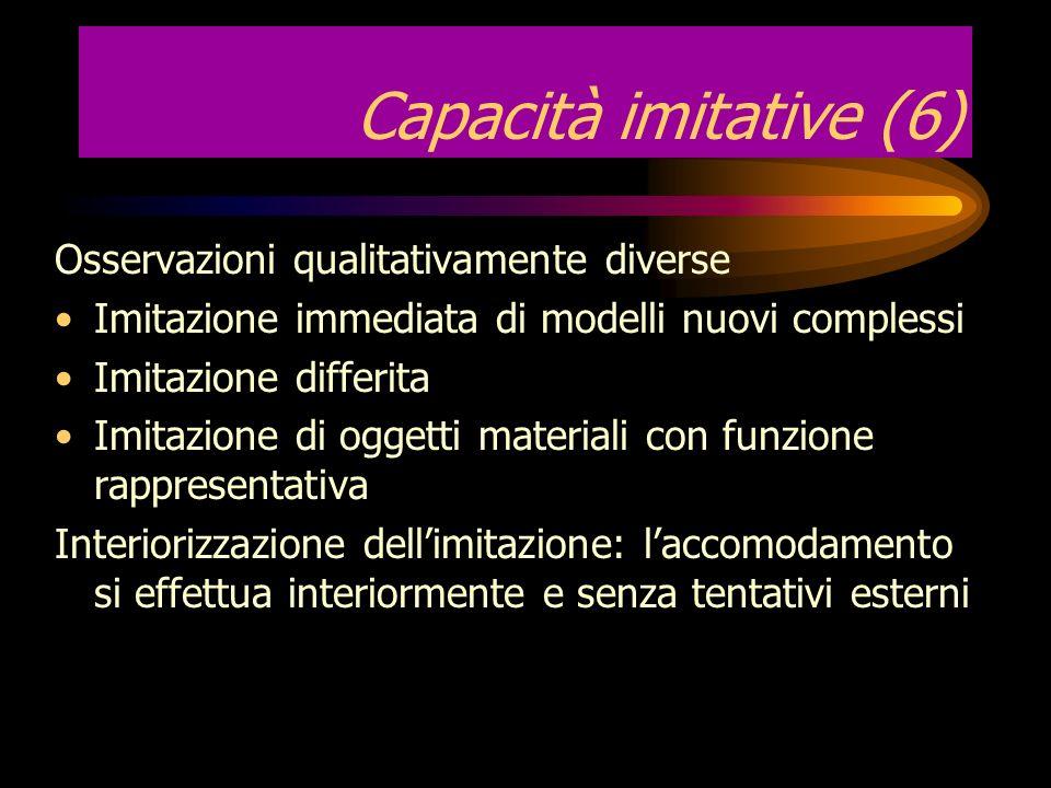 Capacità imitative (6) Osservazioni qualitativamente diverse