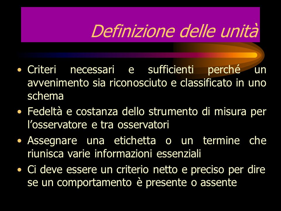 Definizione delle unità