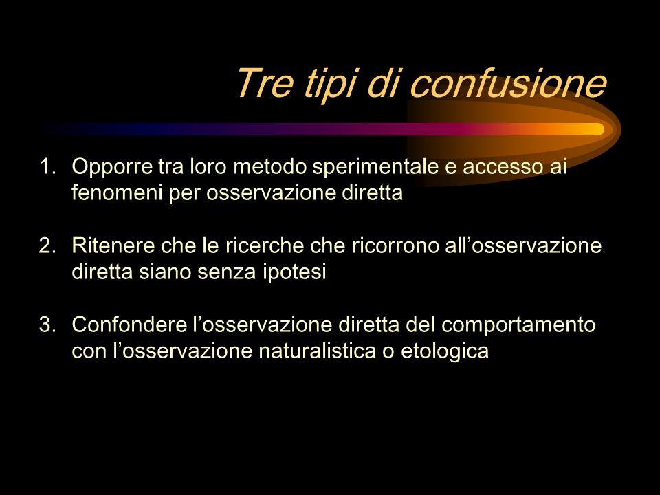 Tre tipi di confusione Opporre tra loro metodo sperimentale e accesso ai fenomeni per osservazione diretta.