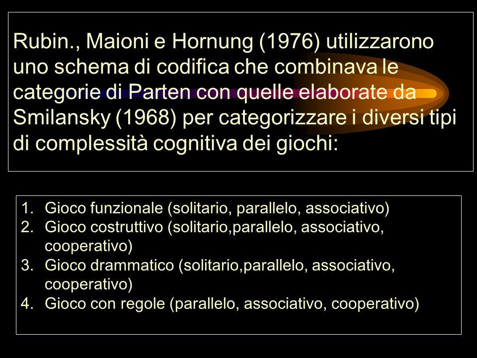 Rubin., Maioni e Hornung (1976) utilizzarono uno schema di codifica che combinava le categorie di Parten con quelle elaborate da Smilansky (1968) per categorizzare i diversi tipi di complessità cognitiva dei giochi: