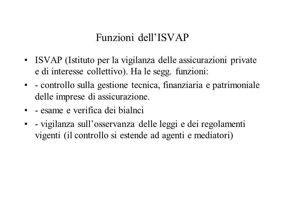 Funzioni dell'ISVAP ISVAP (Istituto per la vigilanza delle assicurazioni private e di interesse collettivo). Ha le segg. funzioni:
