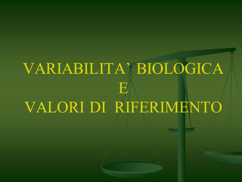 VARIABILITA' BIOLOGICA E VALORI DI RIFERIMENTO
