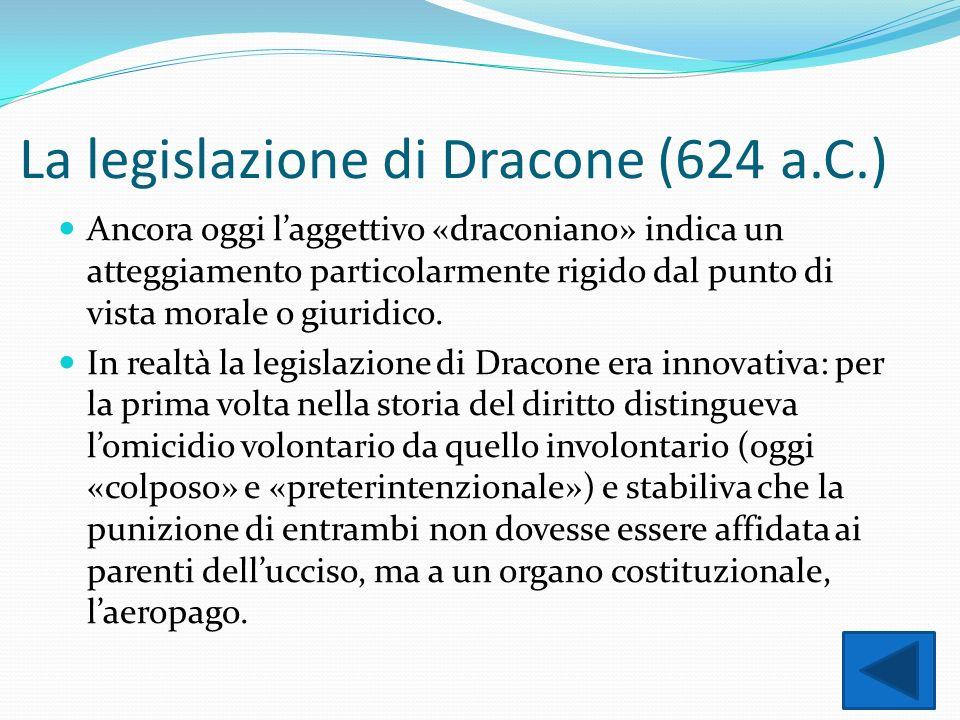 La legislazione di Dracone (624 a.C.)