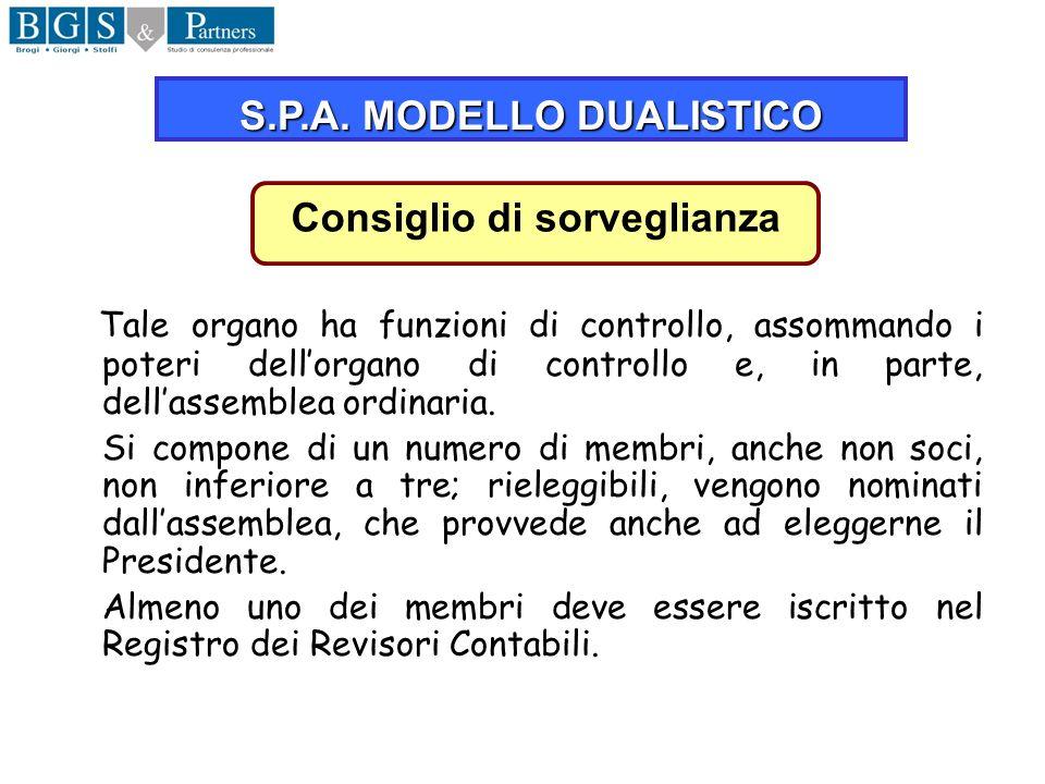 S.P.A. MODELLO DUALISTICO Consiglio di sorveglianza