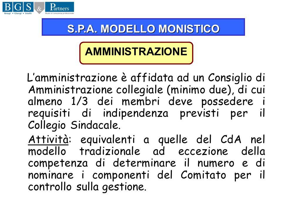 S.P.A. MODELLO MONISTICO AMMINISTRAZIONE.