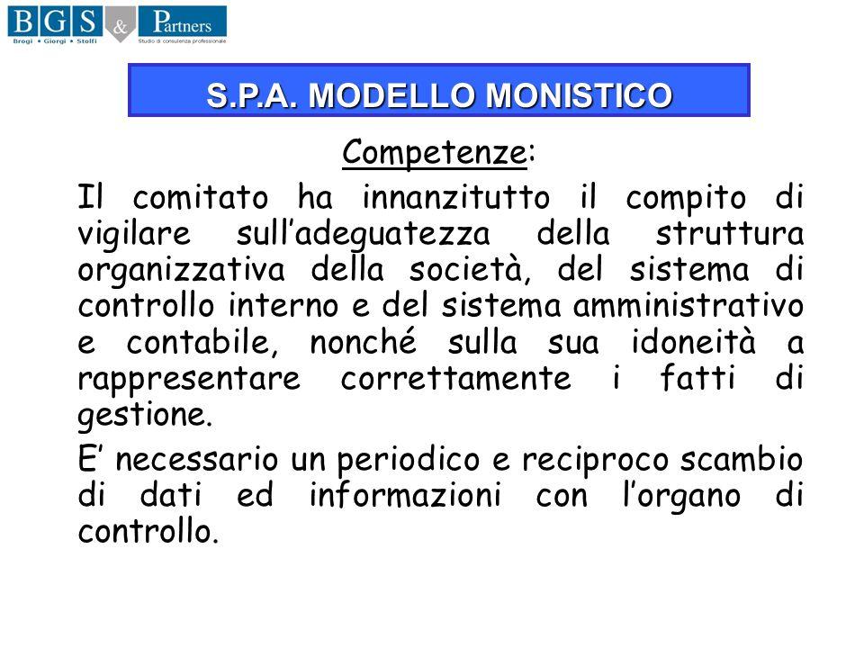 S.P.A. MODELLO MONISTICO Competenze: