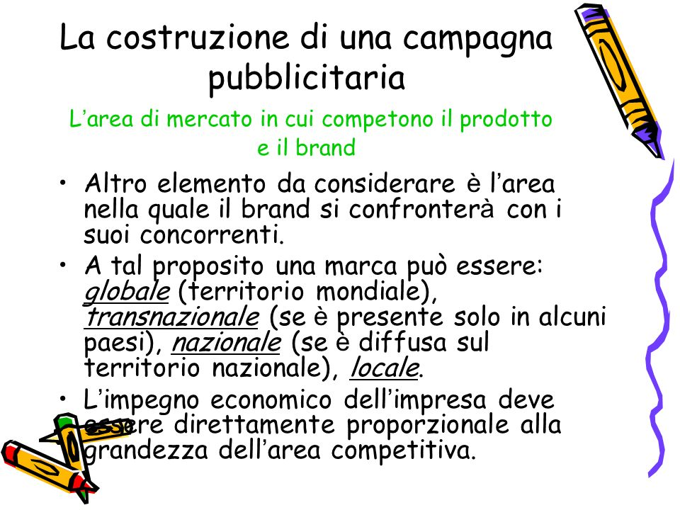 La costruzione di una campagna pubblicitaria L'area di mercato in cui competono il prodotto e il brand
