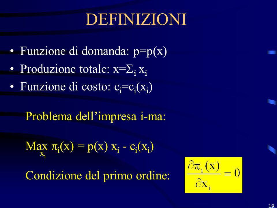DEFINIZIONI Funzione di domanda: p=p(x) Produzione totale: x=i xi