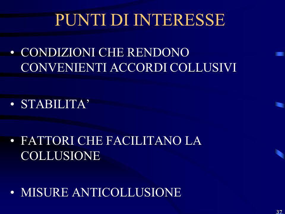 PUNTI DI INTERESSE CONDIZIONI CHE RENDONO CONVENIENTI ACCORDI COLLUSIVI. STABILITA' FATTORI CHE FACILITANO LA COLLUSIONE.