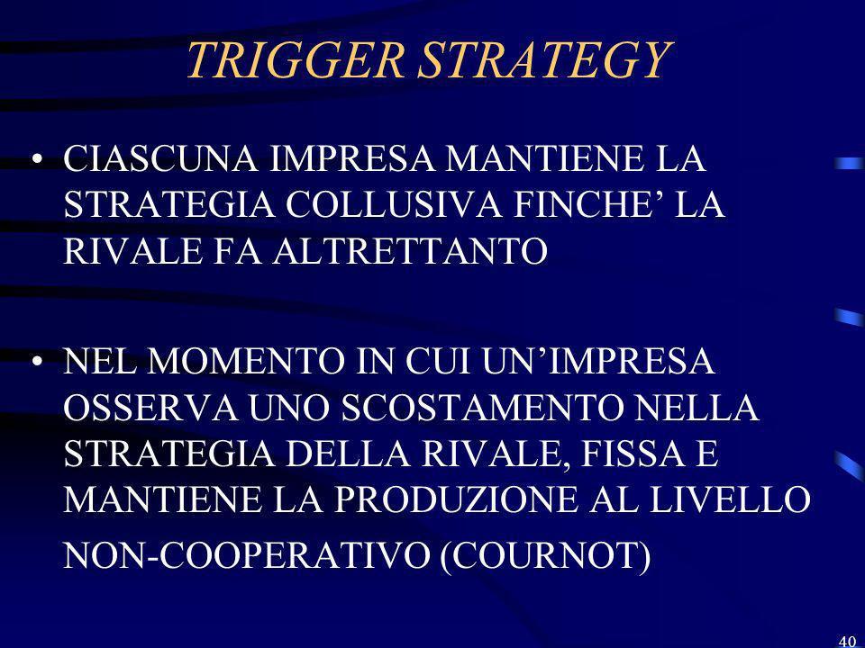 TRIGGER STRATEGY CIASCUNA IMPRESA MANTIENE LA STRATEGIA COLLUSIVA FINCHE' LA RIVALE FA ALTRETTANTO.