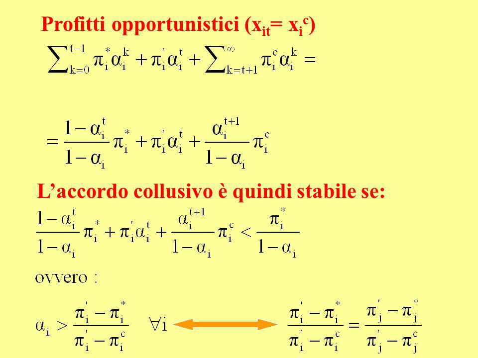 Profitti opportunistici (xit= xic)