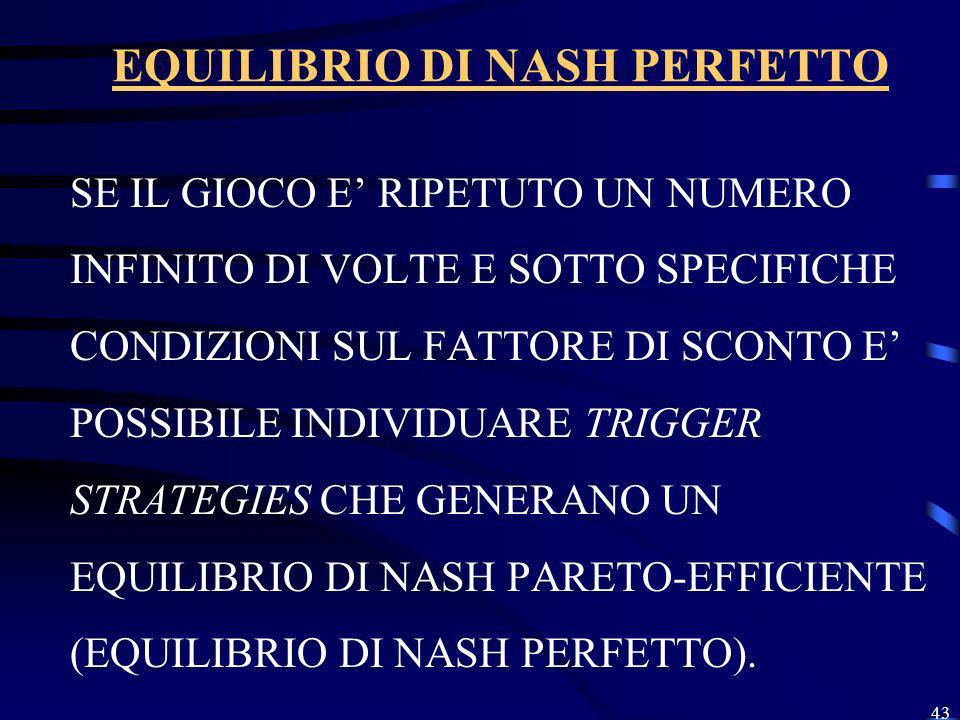 EQUILIBRIO DI NASH PERFETTO