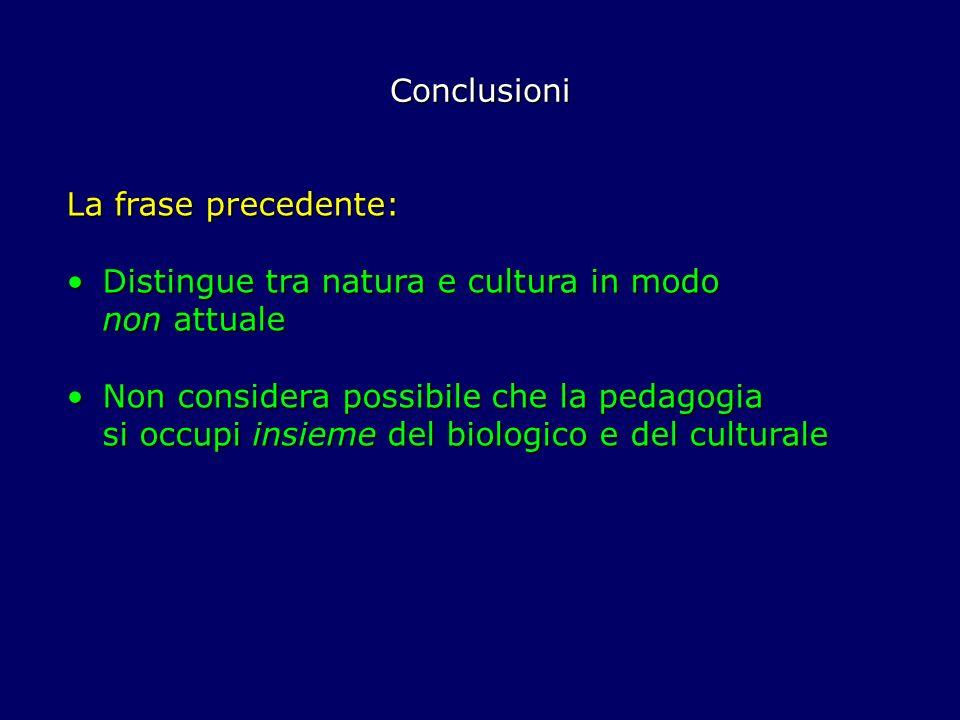 Conclusioni La frase precedente: Distingue tra natura e cultura in modo non attuale.