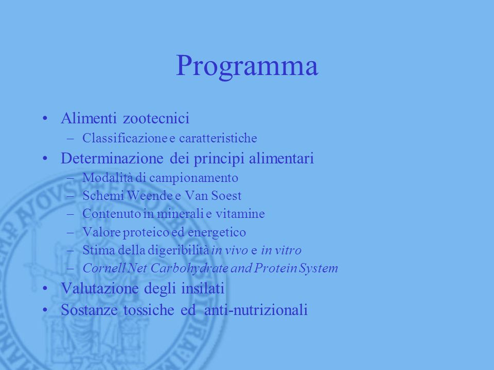 Programma Alimenti zootecnici Determinazione dei principi alimentari