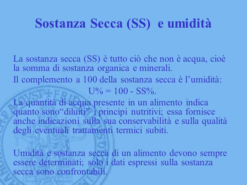 Sostanza Secca (SS) e umidità