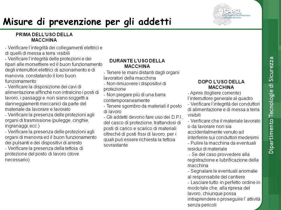 Misure di prevenzione per gli addetti