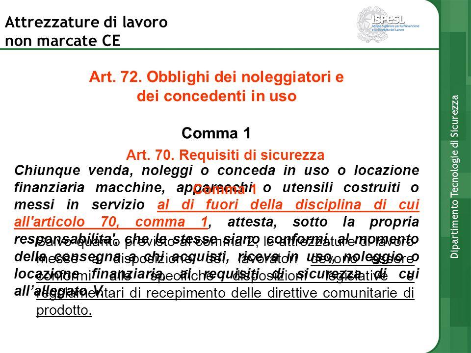 Art. 72. Obblighi dei noleggiatori e Art. 70. Requisiti di sicurezza