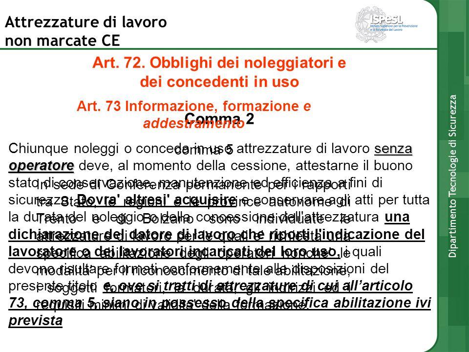 Art. 72. Obblighi dei noleggiatori e
