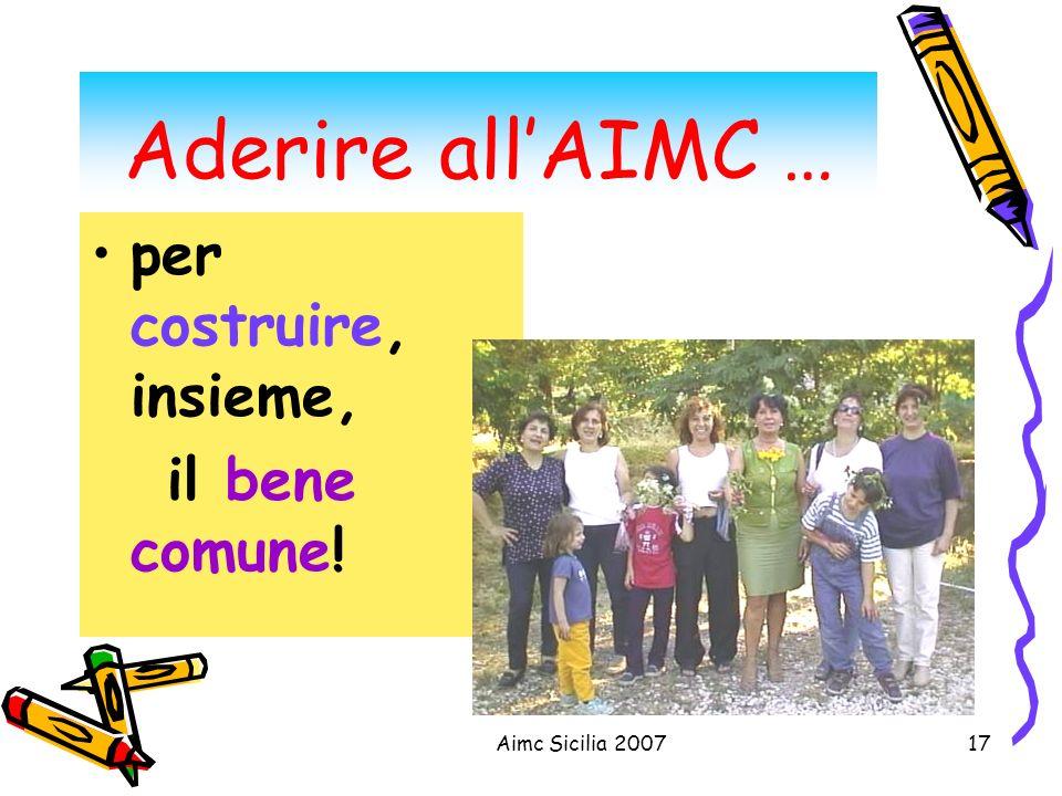 Aderire all'AIMC … per costruire, insieme, il bene comune!