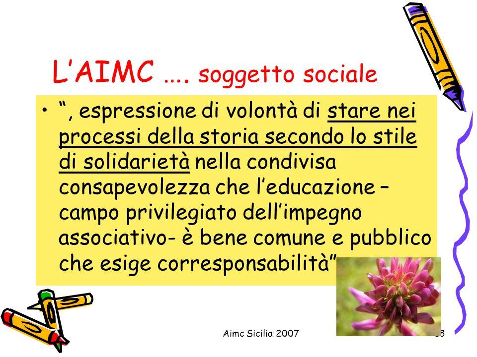 L'AIMC …. soggetto sociale