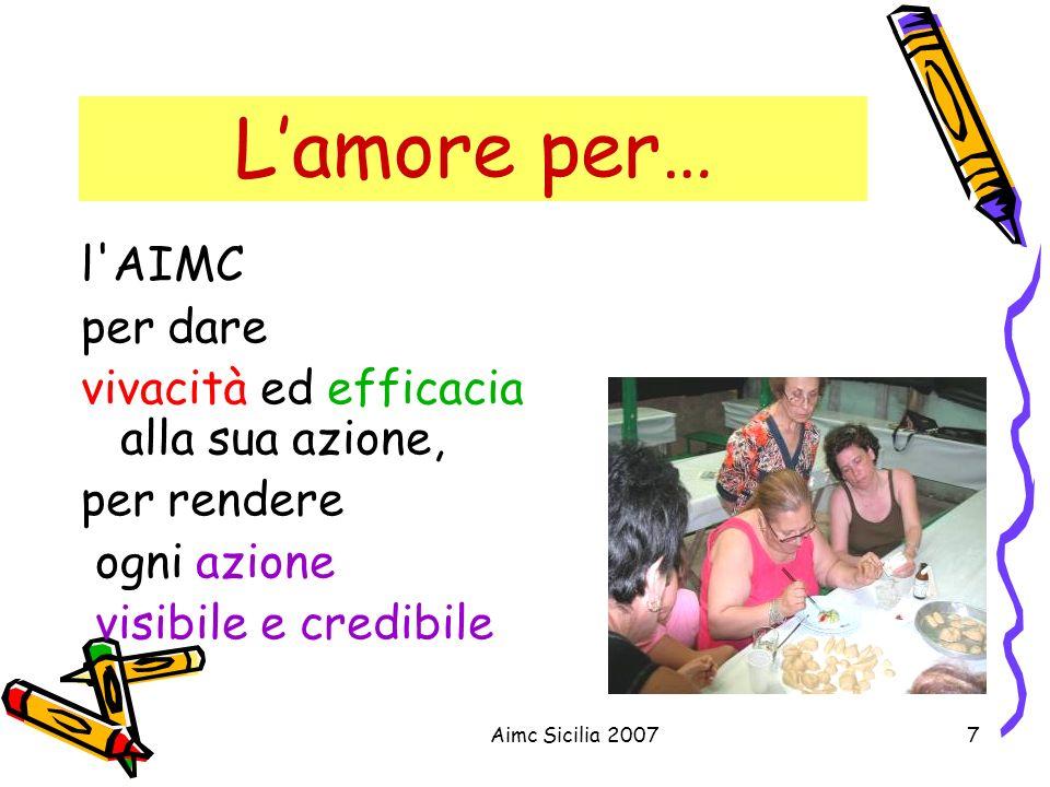 L'amore per… l AIMC per dare vivacità ed efficacia alla sua azione,