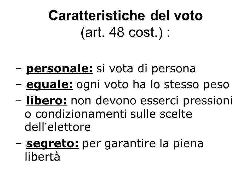 Caratteristiche del voto (art. 48 cost.) :