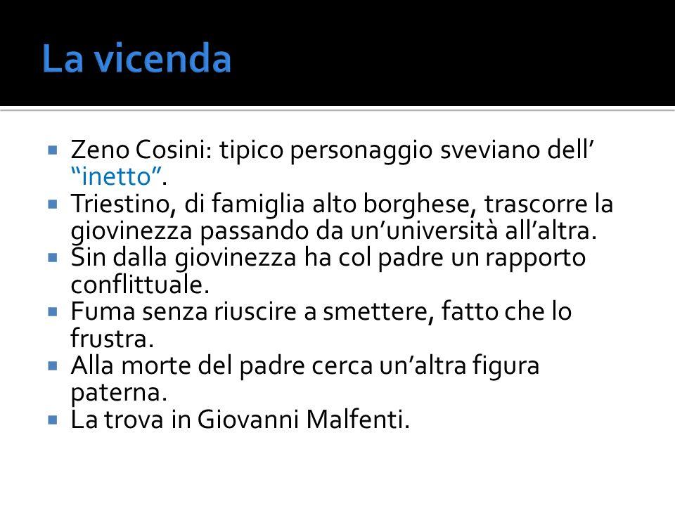 La vicenda Zeno Cosini: tipico personaggio sveviano dell' inetto .