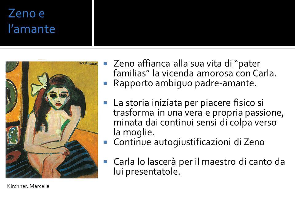 Zeno e l'amante Kirchner, Marcella. Zeno affianca alla sua vita di pater familias la vicenda amorosa con Carla.