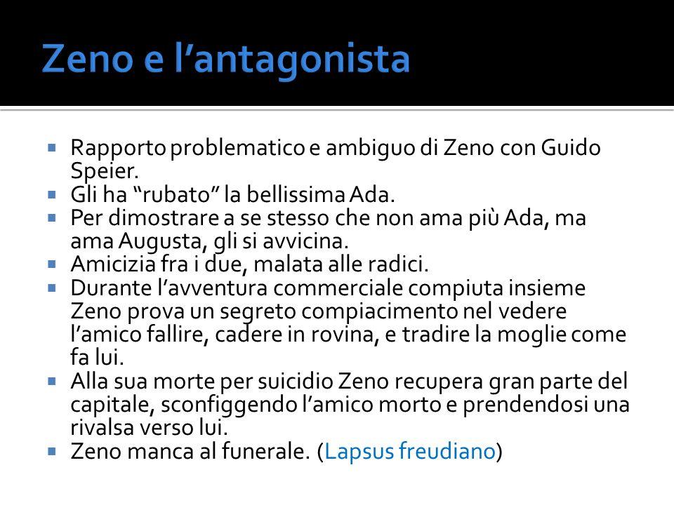 Zeno e l'antagonista Rapporto problematico e ambiguo di Zeno con Guido Speier. Gli ha rubato la bellissima Ada.
