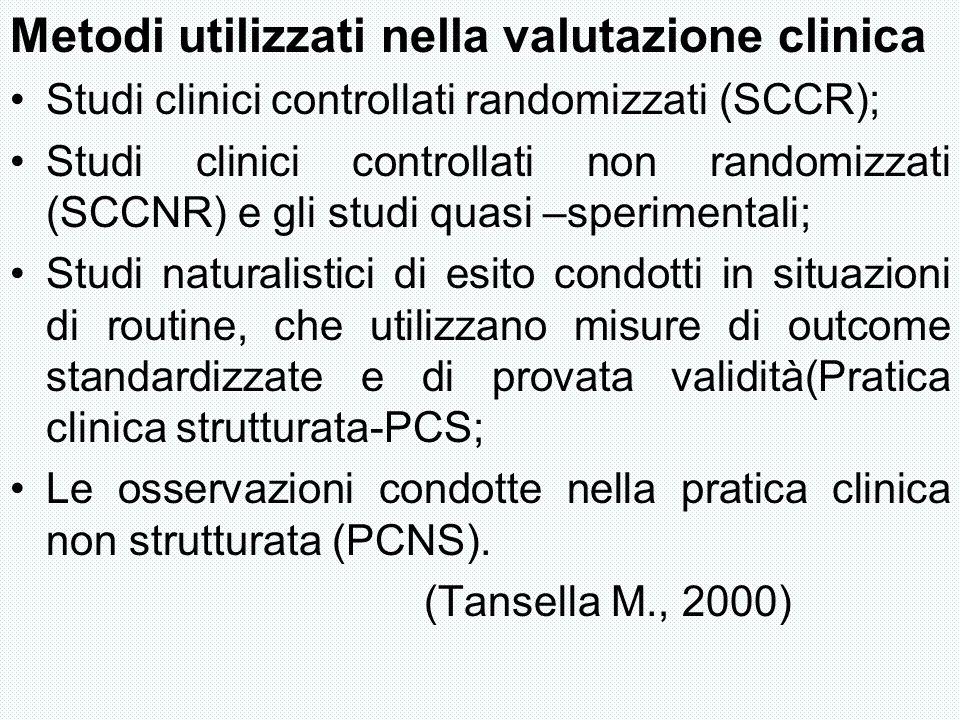 Metodi utilizzati nella valutazione clinica
