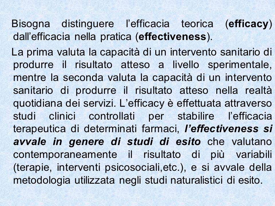 Bisogna distinguere l'efficacia teorica (efficacy) dall'efficacia nella pratica (effectiveness).