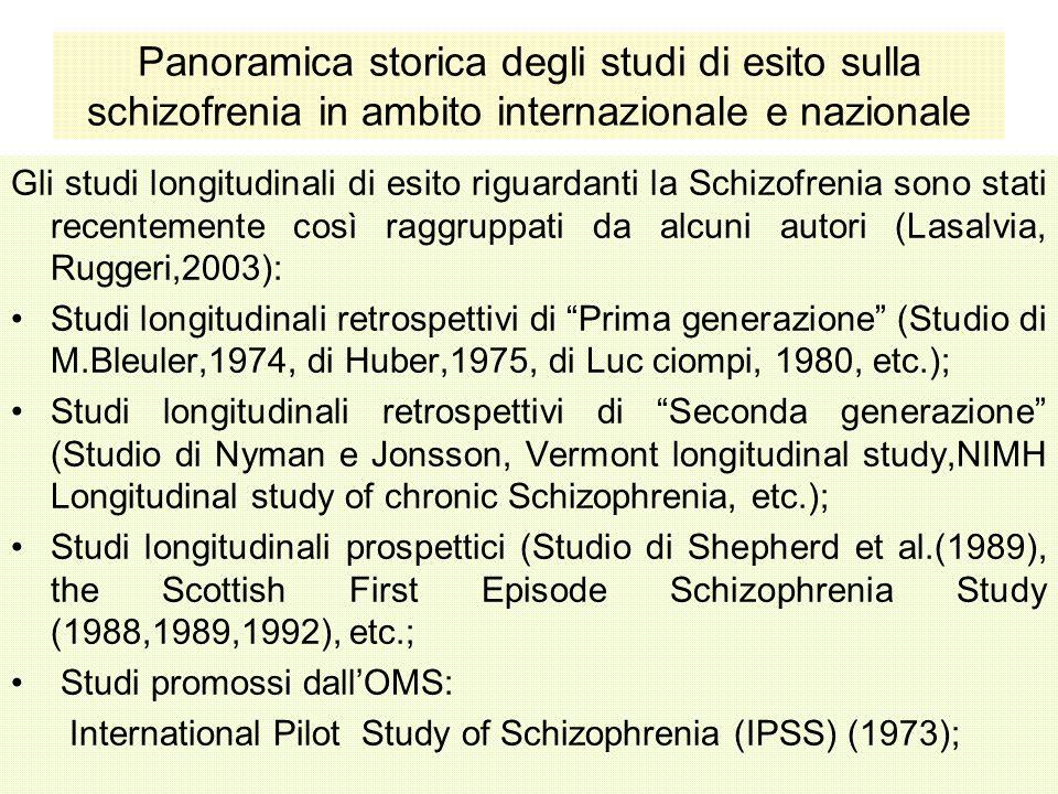 Panoramica storica degli studi di esito sulla schizofrenia in ambito internazionale e nazionale