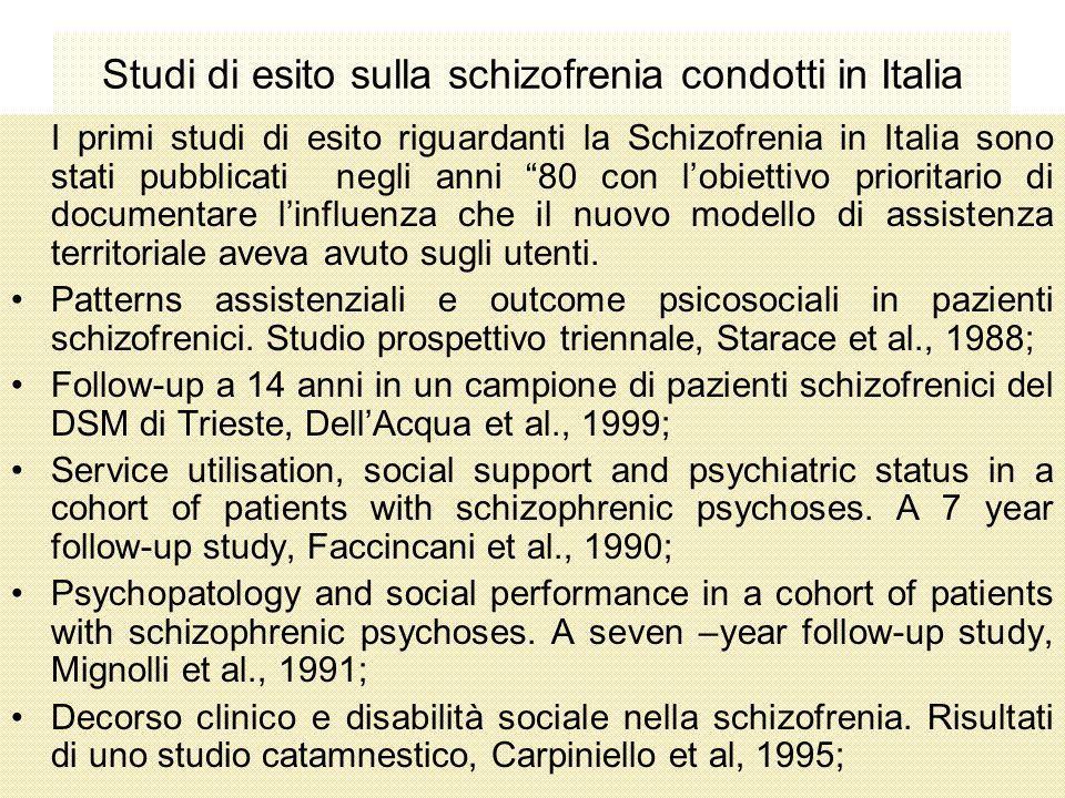 Studi di esito sulla schizofrenia condotti in Italia