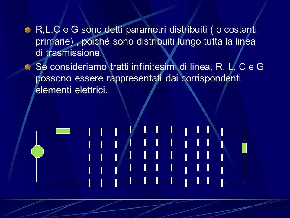 R,L,C e G sono detti parametri distribuiti ( o costanti primarie) , poiché sono distribuiti lungo tutta la linea di trasmissione.
