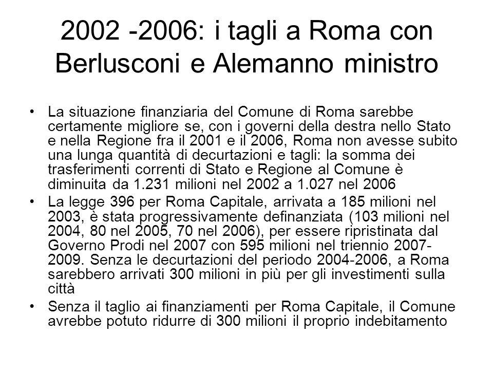 2002 -2006: i tagli a Roma con Berlusconi e Alemanno ministro